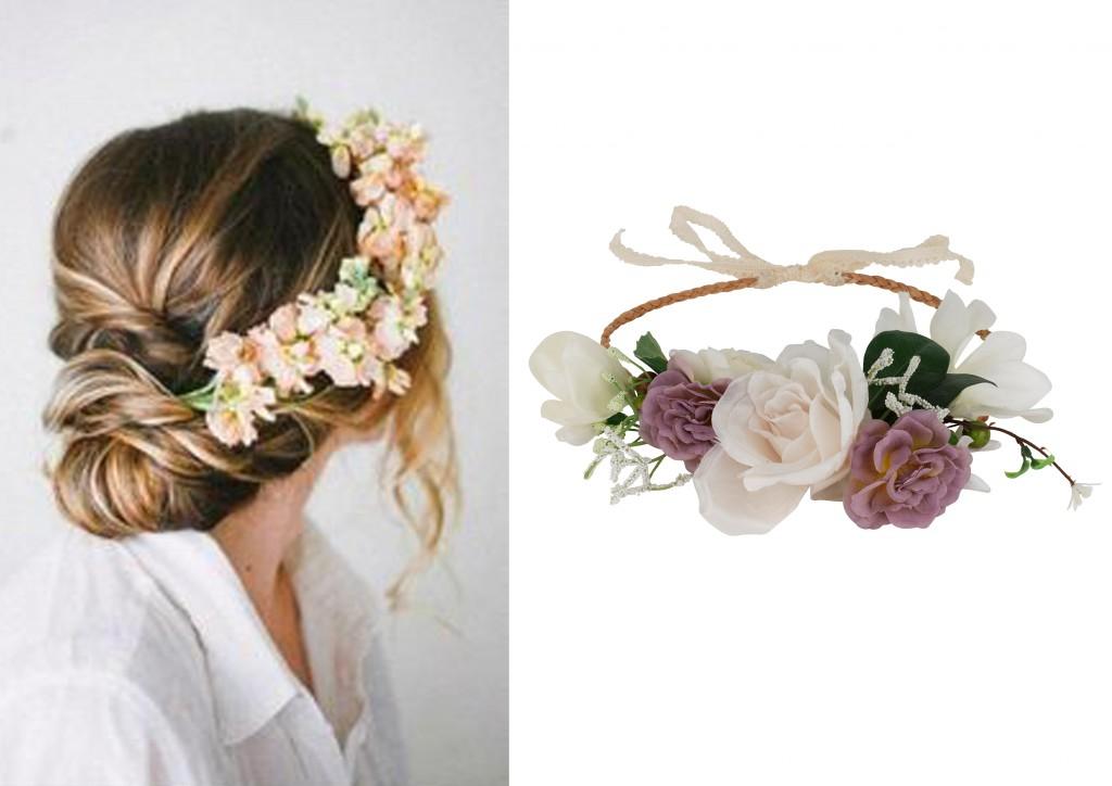 tocado flores pelo invitada boda