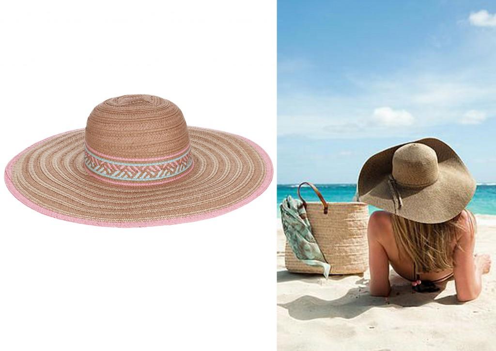 sombrero ala ancha con motivo etnico