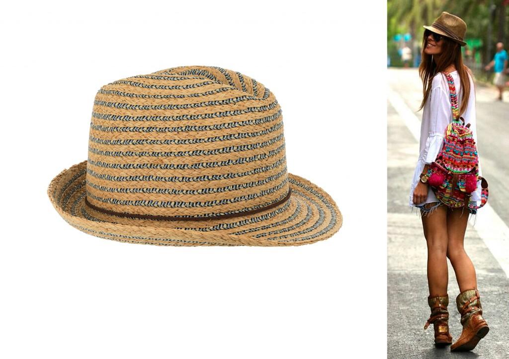 sombrero paja de lineas bicolor