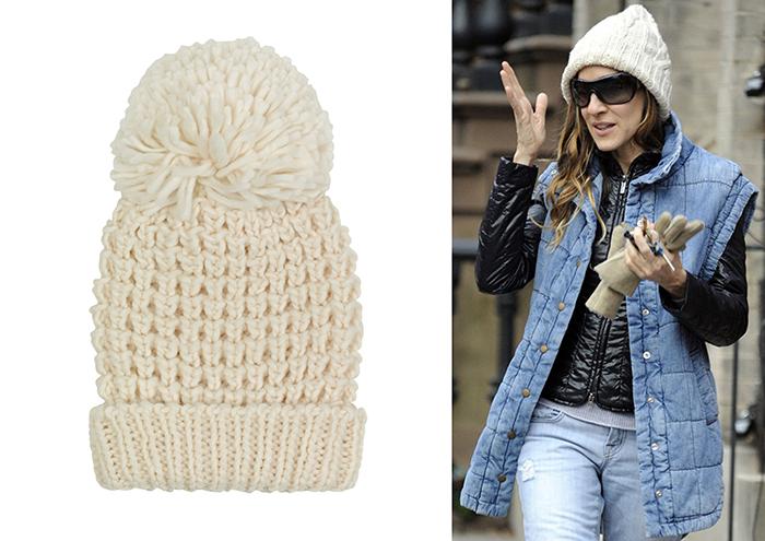 Sombrero blanco de lana y pompón