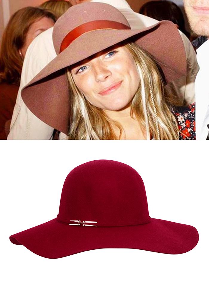 Sombrero ala ancha burdeos