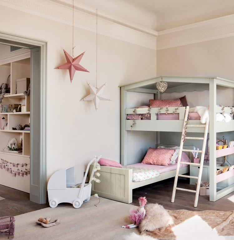 Un dormitorio infantil en verde y rosa-49855-asieslamoda