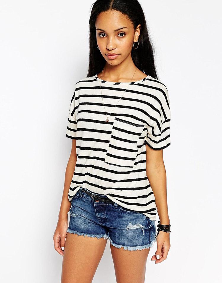 Camiseta con bolsillo de rayas de asos