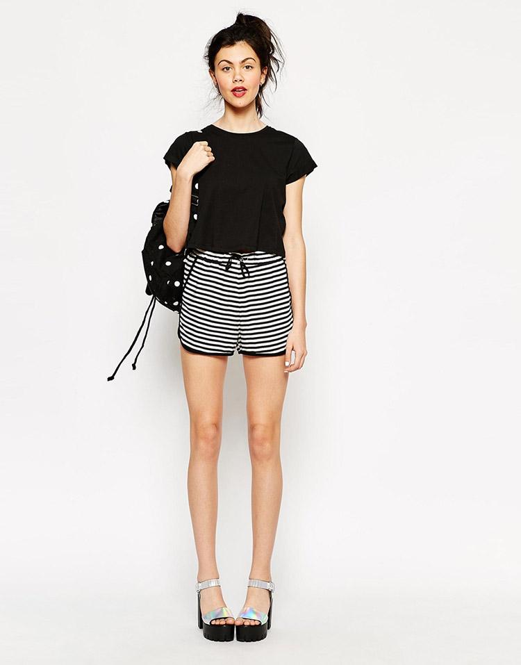 short rayas con cinturilla elástica de asos