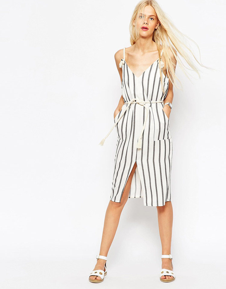 Vestido de tirantes de rayas de asos
