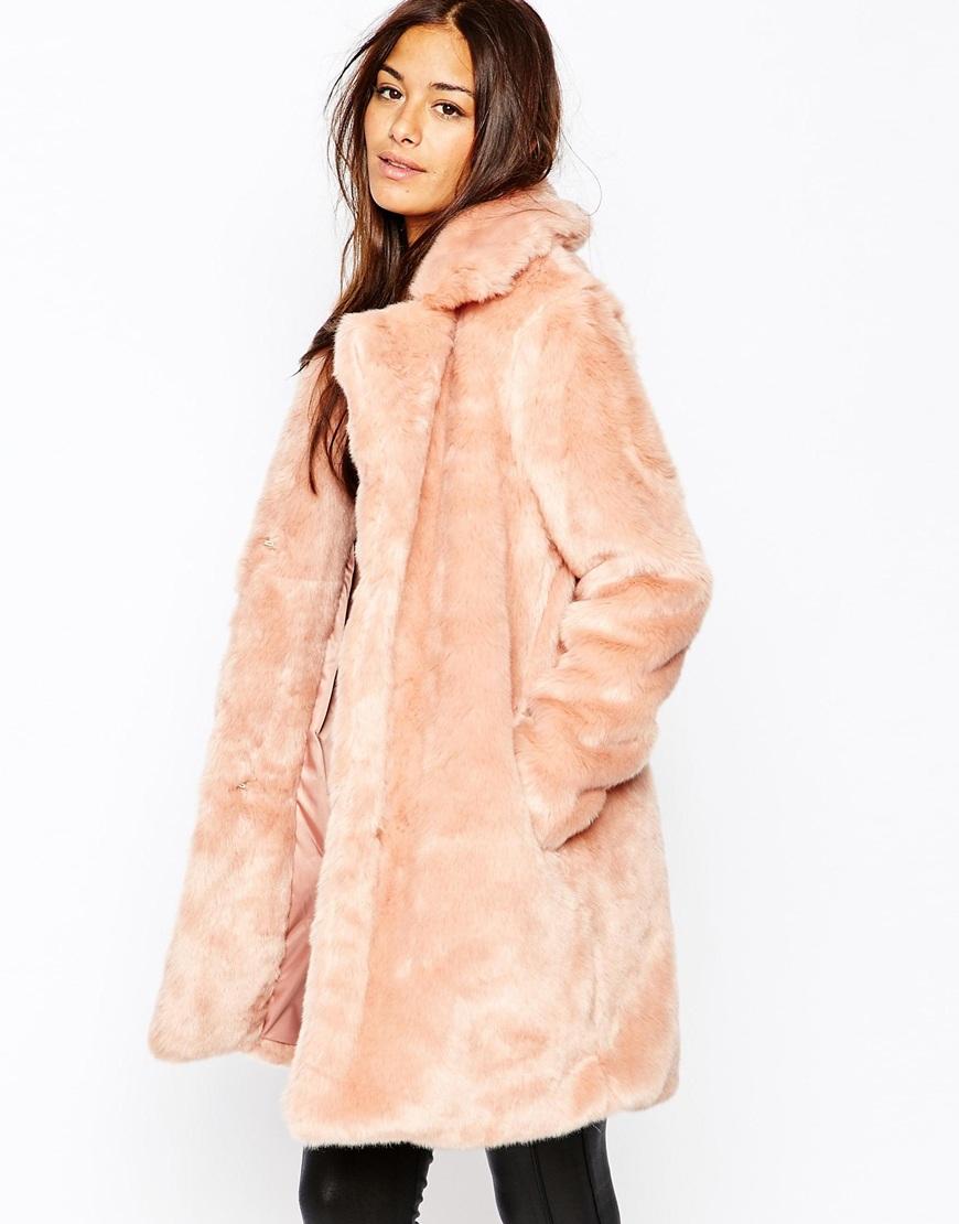 Asos Pelo Rosa Abrigos Mujer En W6xuxq01 5zz1ra