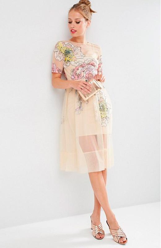Vestido para bodas en otoño de Asos