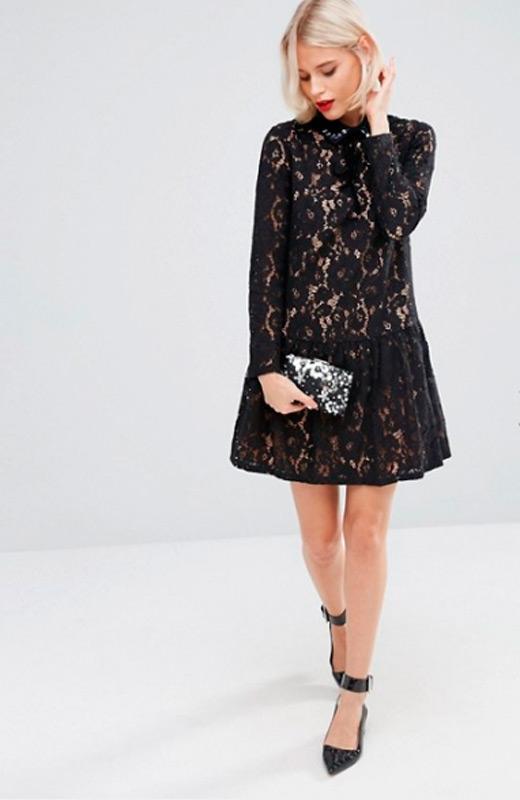 vestidos de fiesta de asos encaje negro