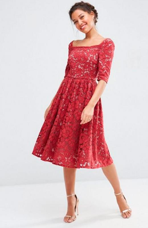 vestidos de fiesta de asos encaje rojo