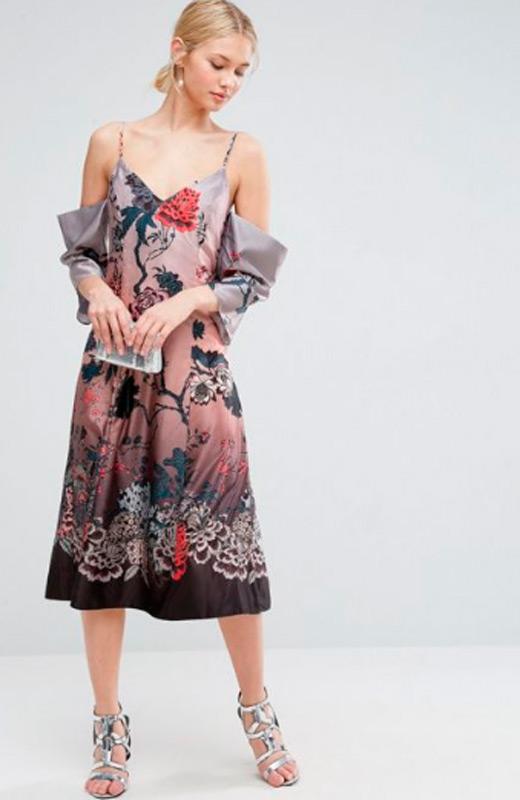 vestidos de fiesta de asos estampado tirantes