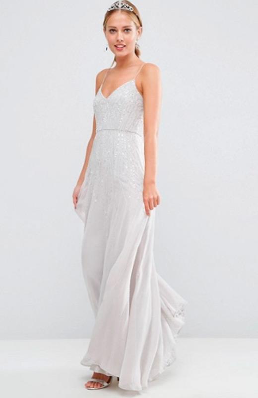 Vestidos de fiesta de Asos pedreria blanco
