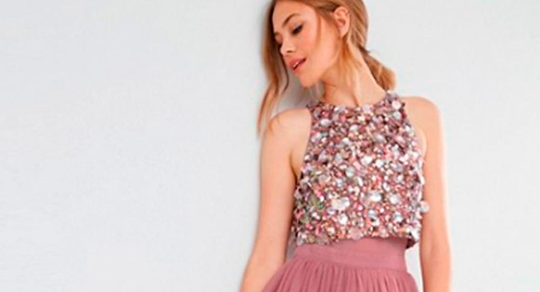 Vestidos de fiesta Asos pedreria rosa