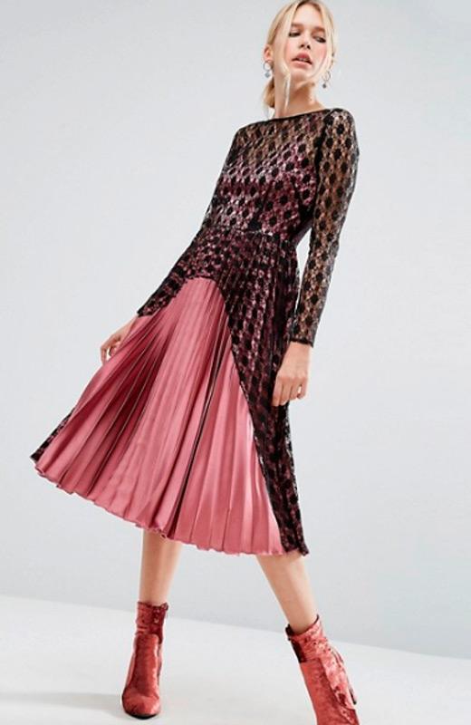 vestidos de fiesta de asos plisado rosa