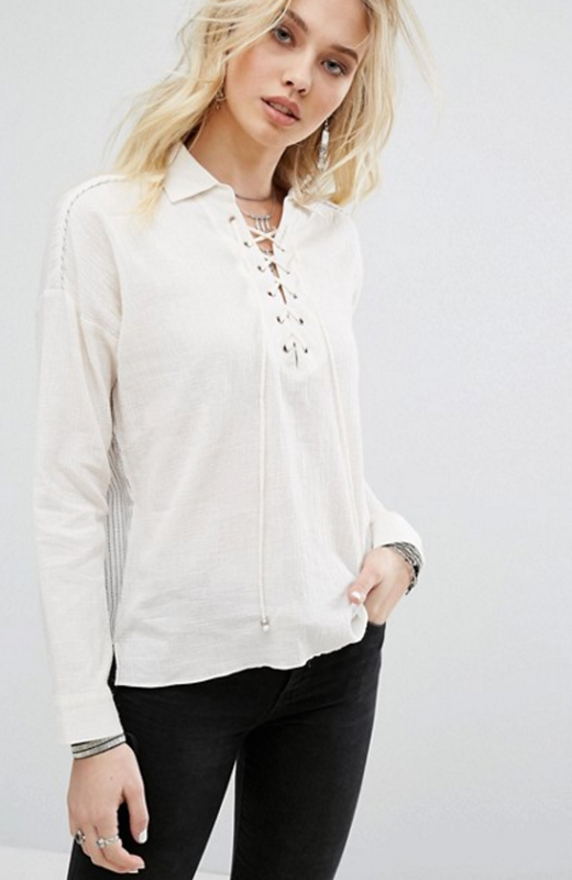 Asos camisa blanca cordon