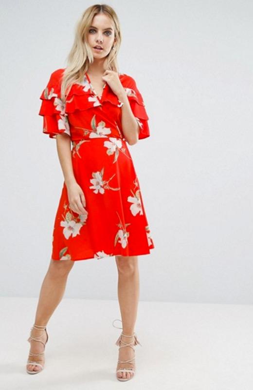 ASOS Vestidos invierno rojo flores