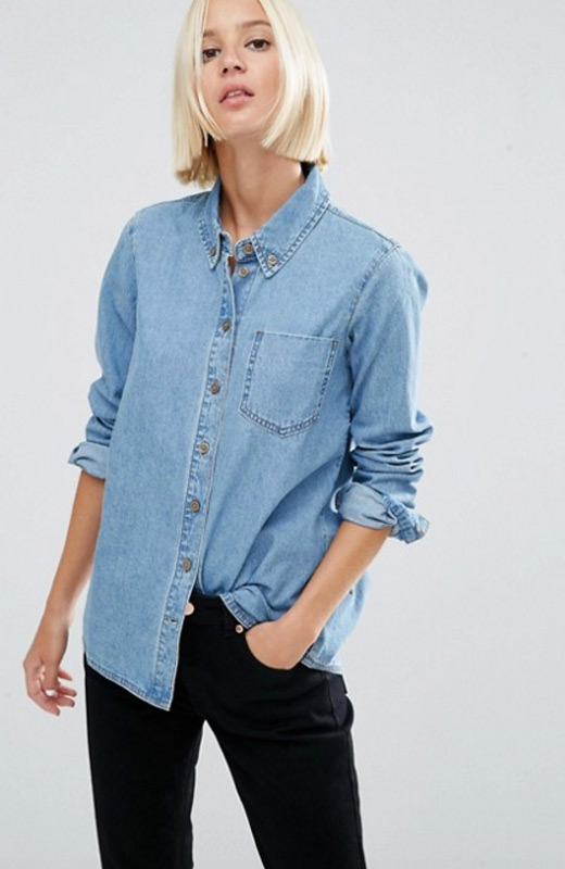 Asos el estilo de olivia palermo en 3 looks stylelovely for Blue denim shirt for womens