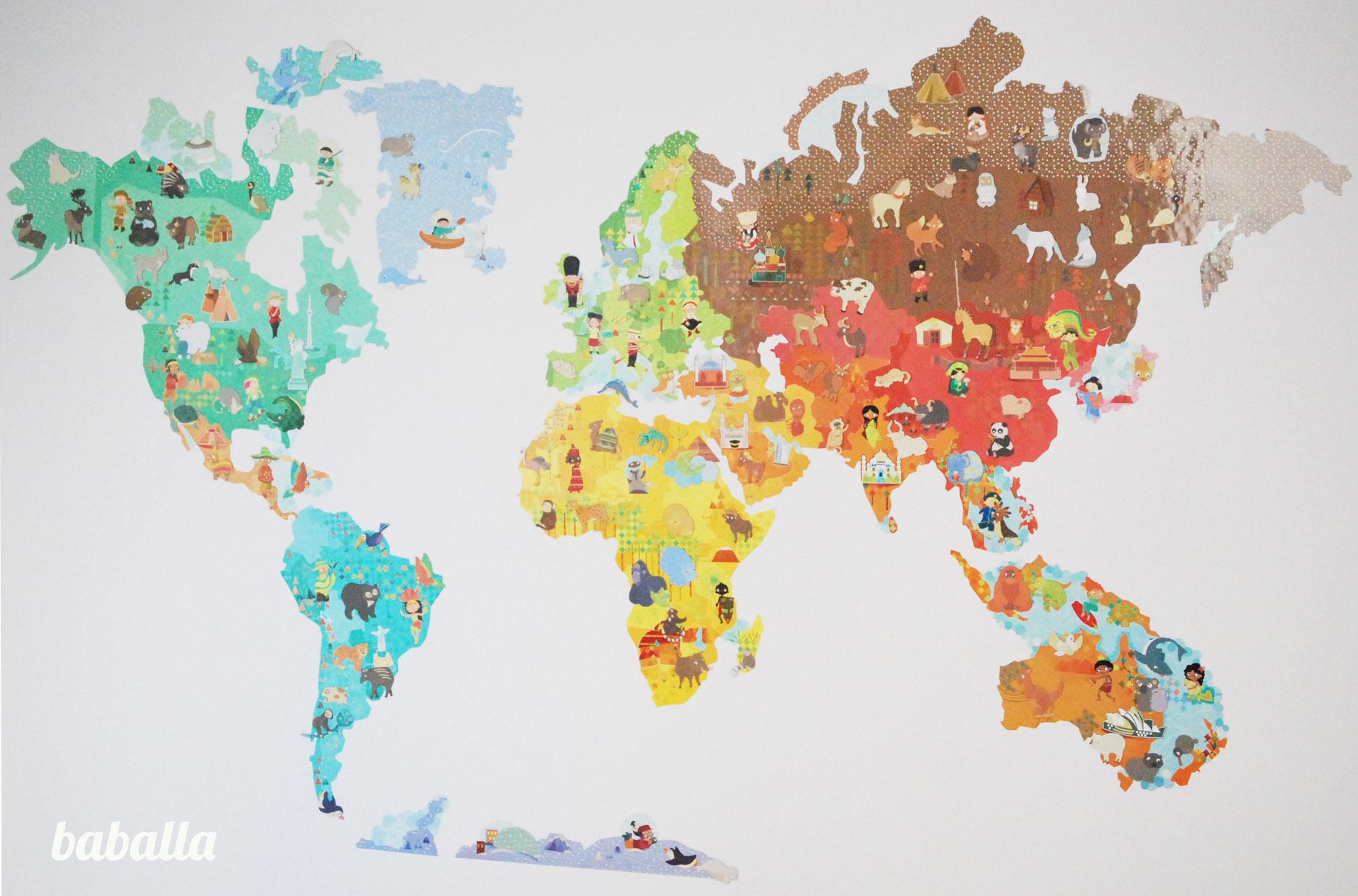 Mapamundi magn tico para la pared deco baballa - Vinilos mapa mundi ...
