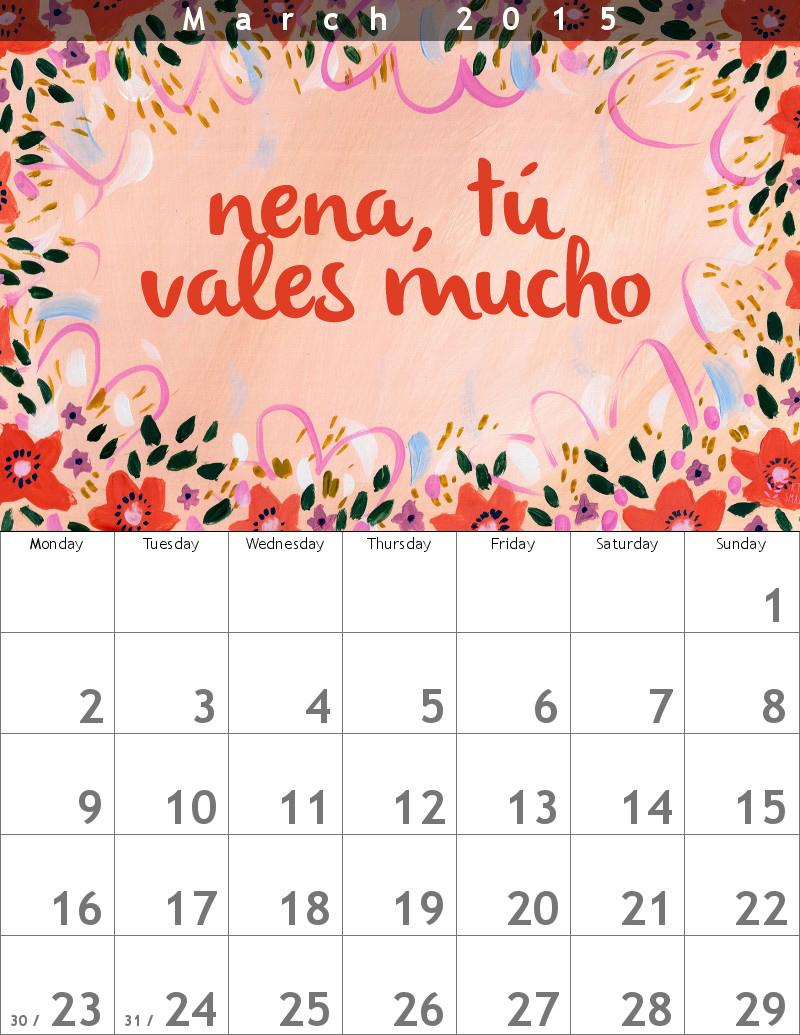 marzo-calendario nena tú vales mucho