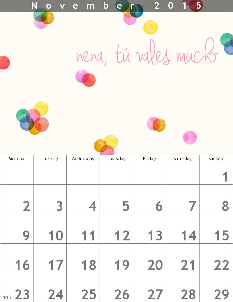 noviembre-calendario nena tú vales mucho