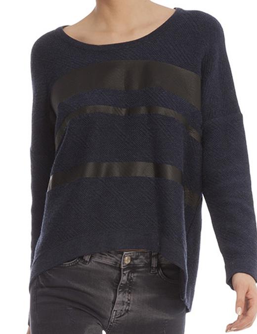 ropa de punto de bdba jersey con detalles efecto piel
