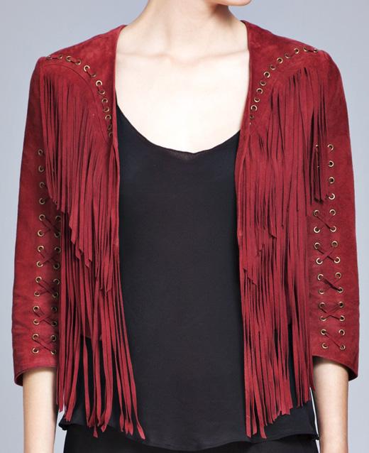 tendencia flecos chaqueta roja
