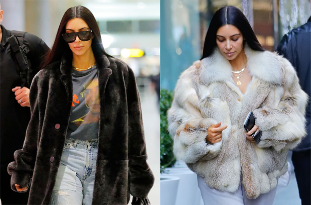 abrigo de pelo. Kim Kardashian. Nueva York