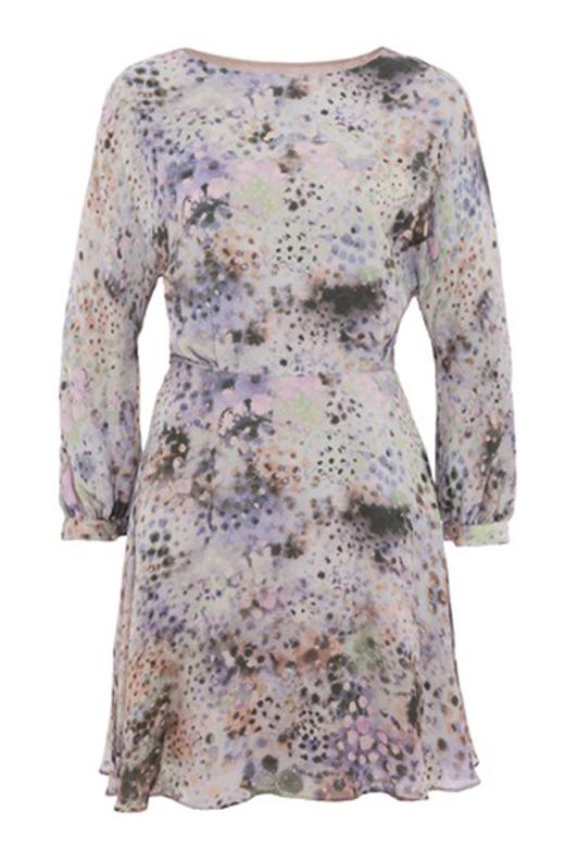vestidos cortos para primavera con BDBA. Manga larga estampado