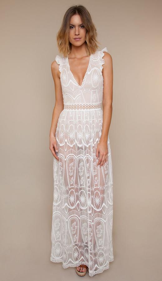 vestidos blancos. vestido largo transparencias