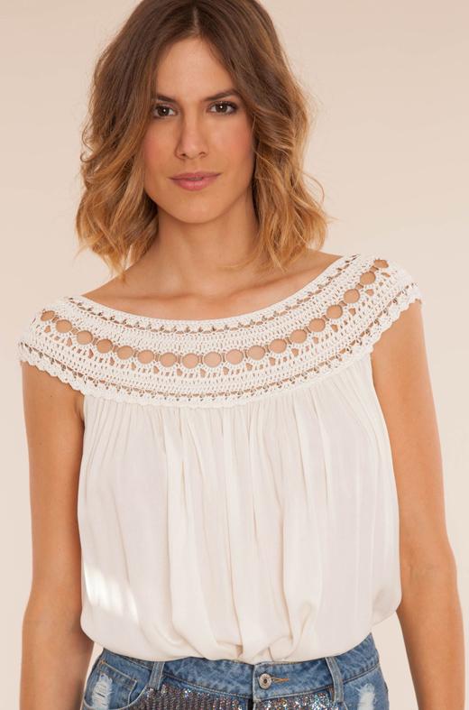 blusas negras o blusas blancas BDBA blusa blanca cerochet