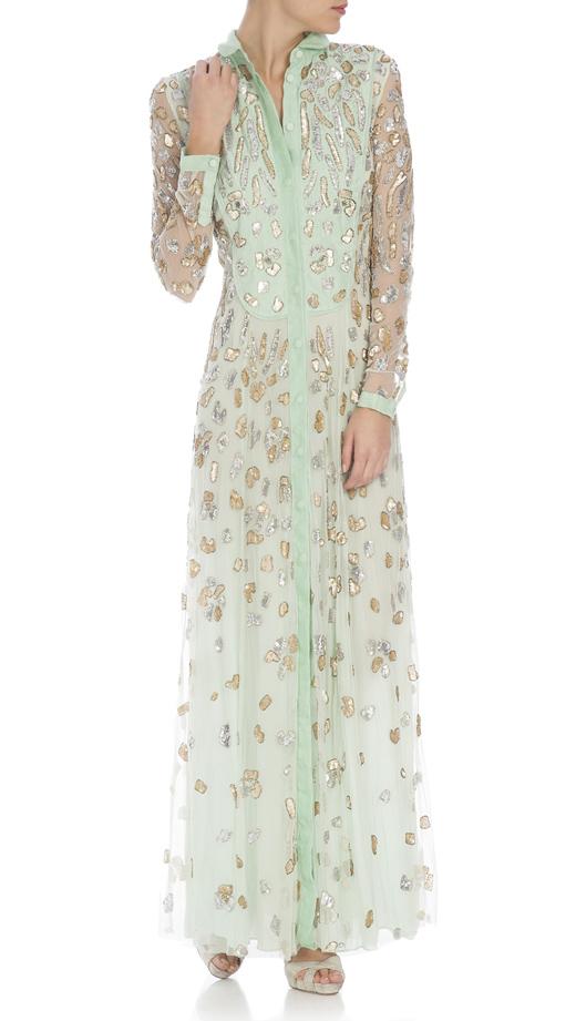 vestidos largos para ser la invitada perfecta con BDBA verde con pedreria