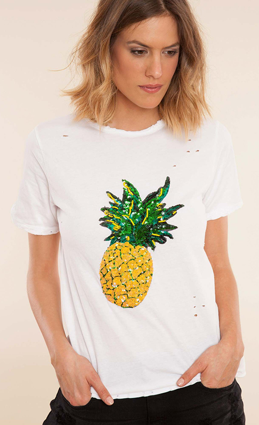 piña, estampado del verano de BDBA camiseta blanca