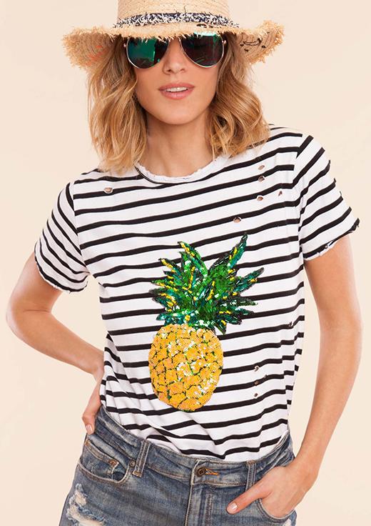 la piña, el estampado del verano BDBA camiseta rayas