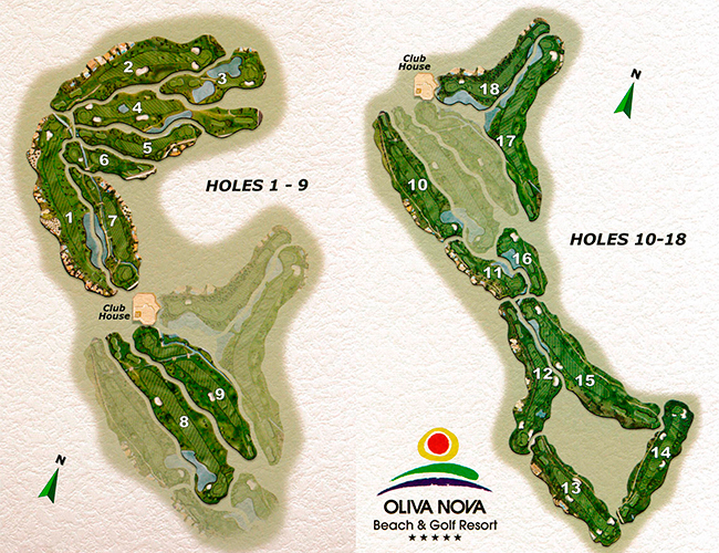 Hoyos campo de golf de Oliva Nova