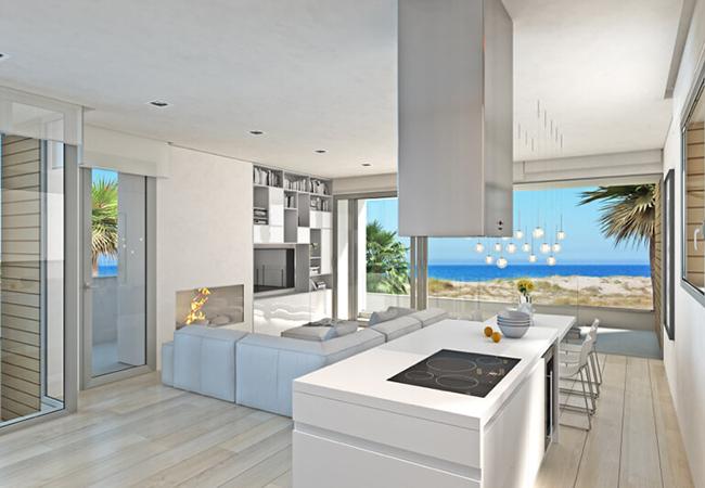 Vistas al mar en el salón de una vivienda de CHG