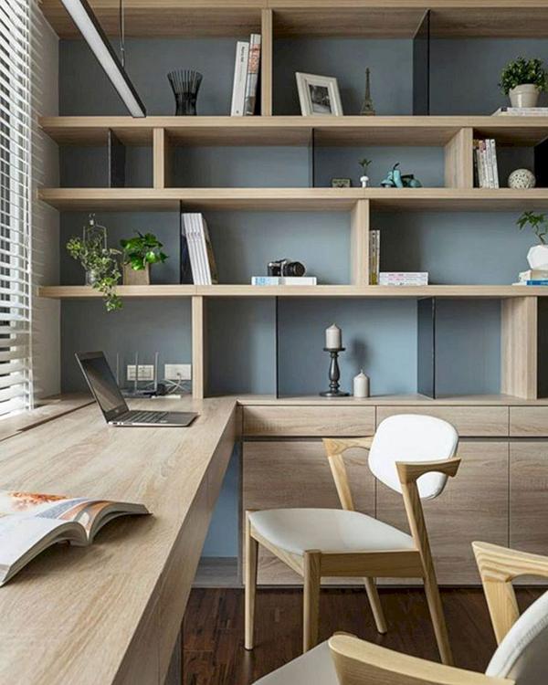 decoración Pinterest escritorio madera con verde menta