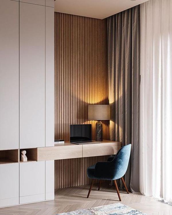 decoración para teletrabajo con cortinas y texturas
