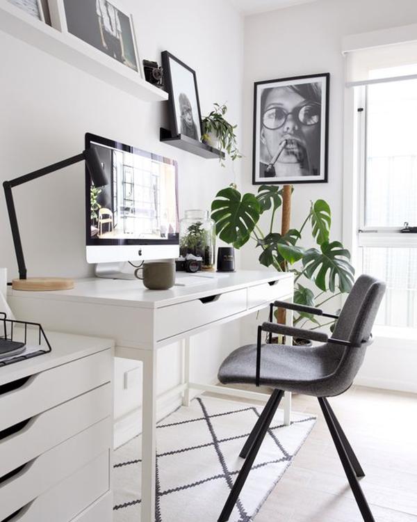 decoración para teletrabajo blanco y negro
