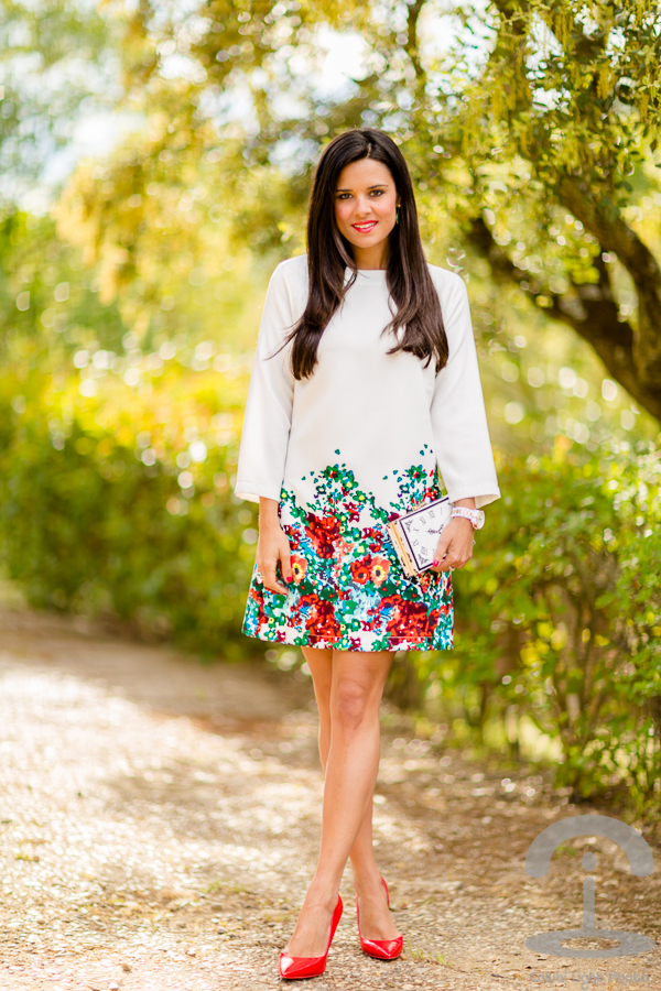 White & red floral dress Crimenes de la Moda