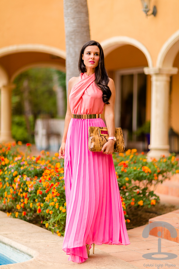 Pink long dress Vestido largo rosa Michael Kors Guess Crimenes de la Moda