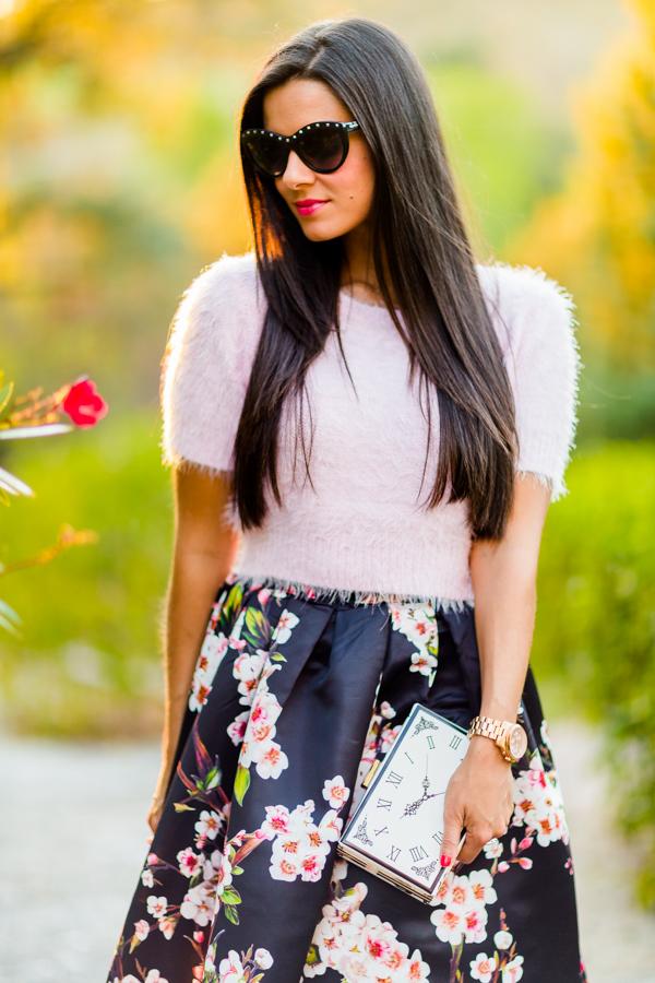 Falda midi skirt flowers Zara Crimenes de la Moda
