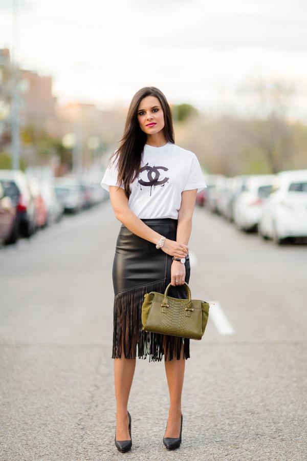 Falda flecos cuero Crimenes de la Moda