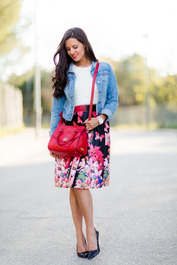 Midi floral skirt falda flores Crimenes de la Moda