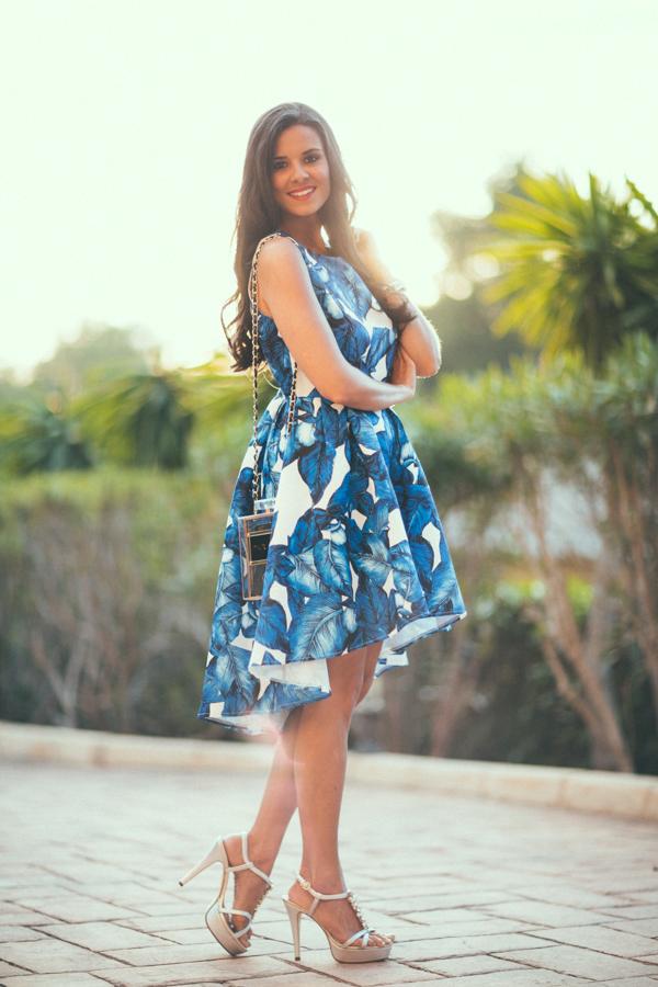 Vestido tropical hojas azul Sheinside Lydios Pedro Miralles Crimenes de la Moda