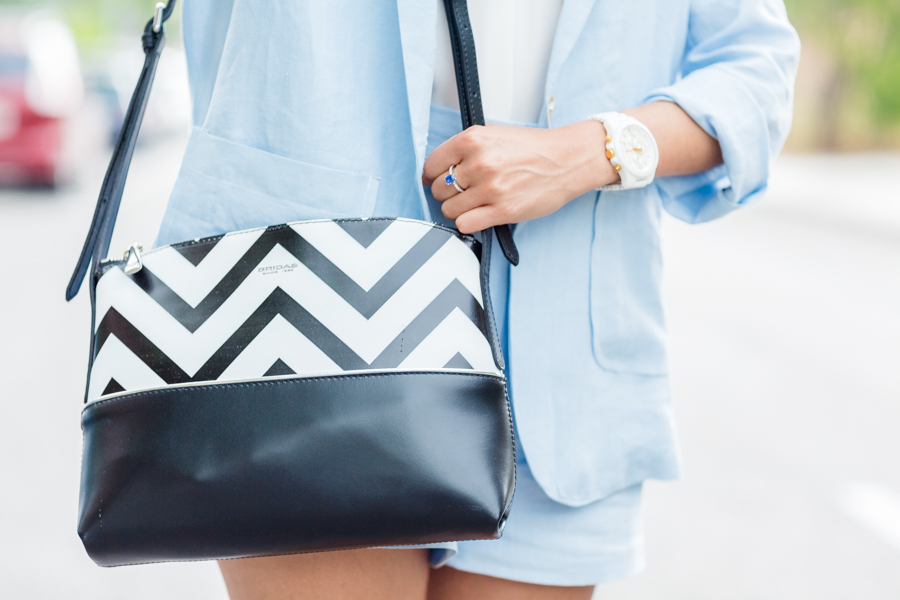 Soft blue shorts and jacket zig zag bag Crimenes de la Moda