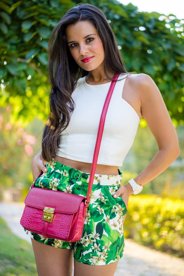 Floral shorts de flores crop top Crimenes de la Moda