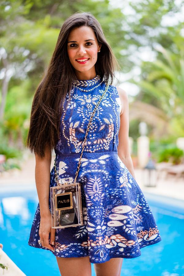 Javea Party Look Curzio Boadilla party blue dress Lozanos Pedro Miralles Crimenes de la Moda