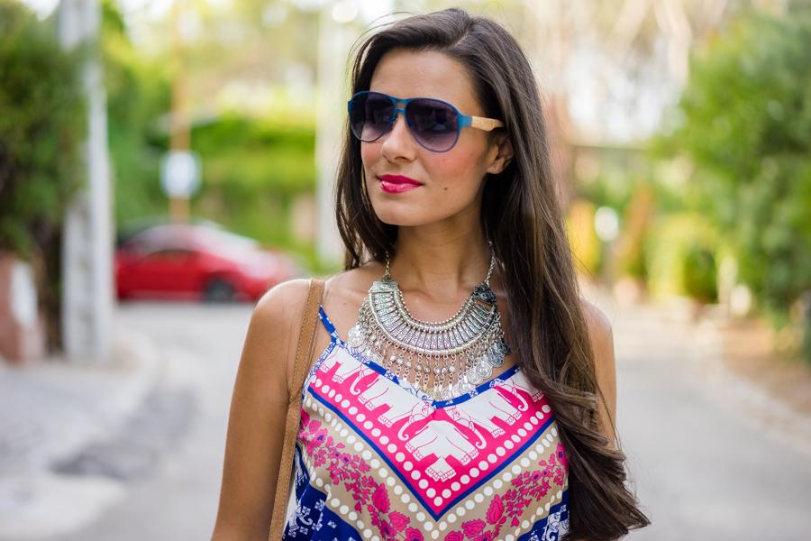Mono estilo boho playsuit Bolso flecos de ante gafas Italia Independent Crimenes de la Moda