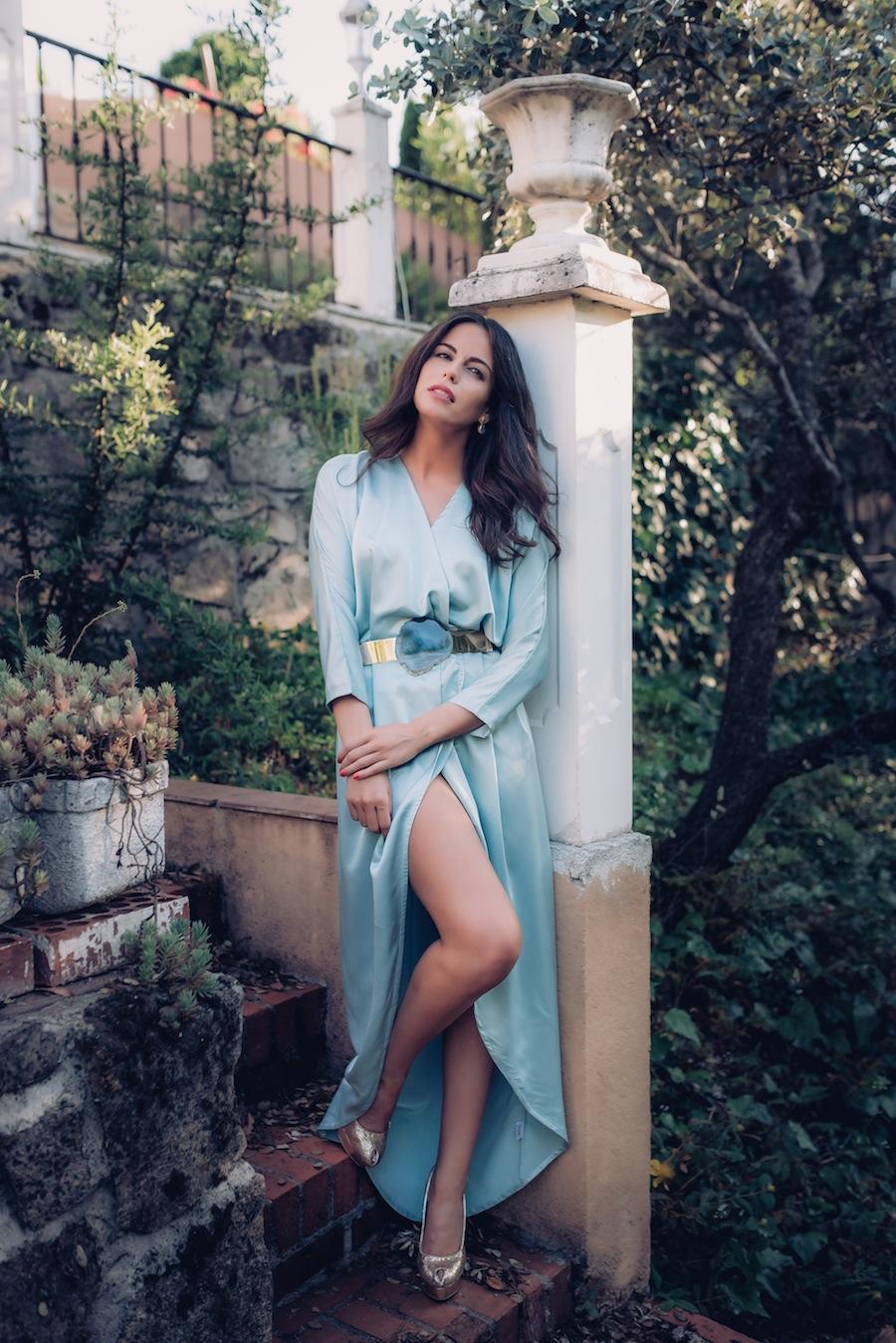 Looks de invitada a boda septiembre Verdemint alquiler de vestidos y tocados Dresseos