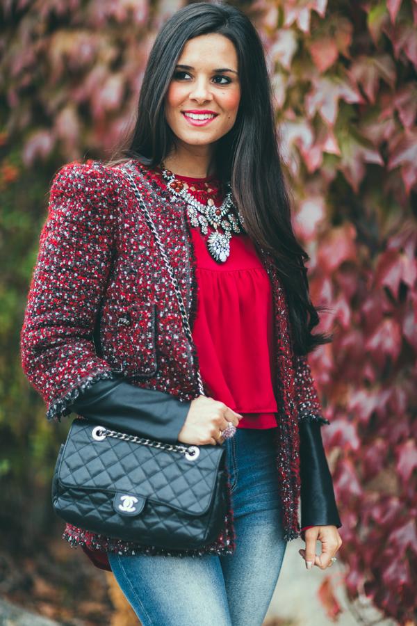 CLP_9484Burgundy Autumn blusa burdeos mangas acampanadas zapatos cordones Zara bolso Chanel Crimenes de la Moda