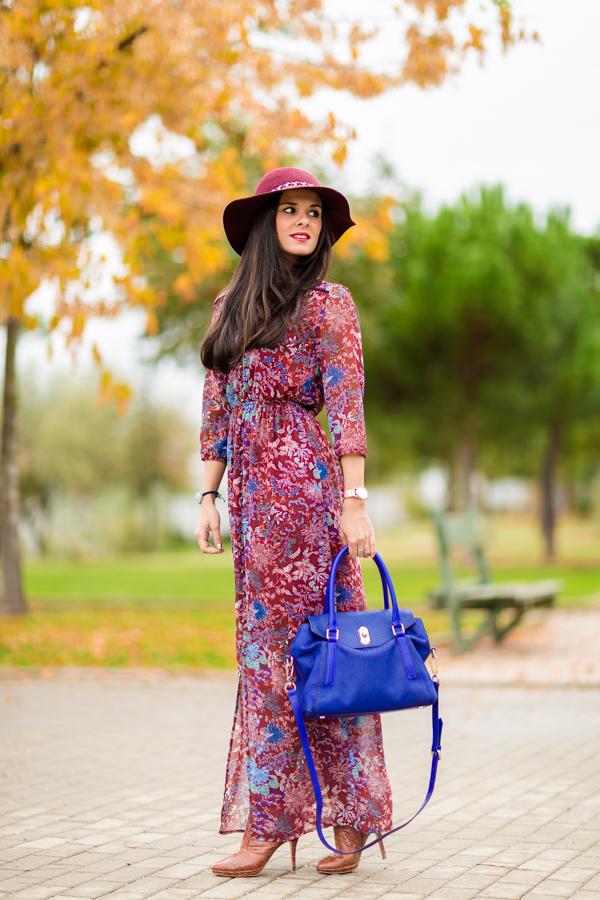 Boho Long Dress vestido largo bohemio burdeos Fórmula Joven El Corte Inglés Crímenes de la Moda